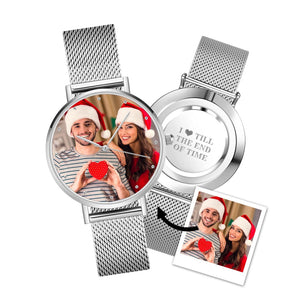 Custom Christmas Photo Watch Engraved Alloy Bracelet 36mm&40mm