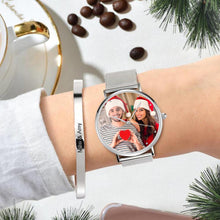 Load image into Gallery viewer, Custom Christmas Photo Watch Engraved Alloy Bracelet 36mm&40mm
