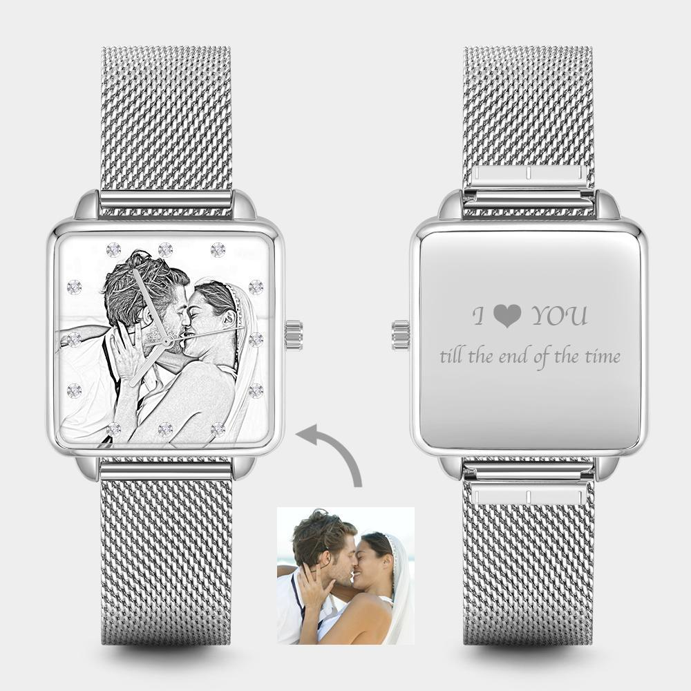 Custom Couple Watch Engraved Photo Watch - Silver Square Case Watch Sketch