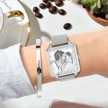 Load image into Gallery viewer, Custom Couple Watch Engraved Photo Watch - Silver Square Case Watch Sketch