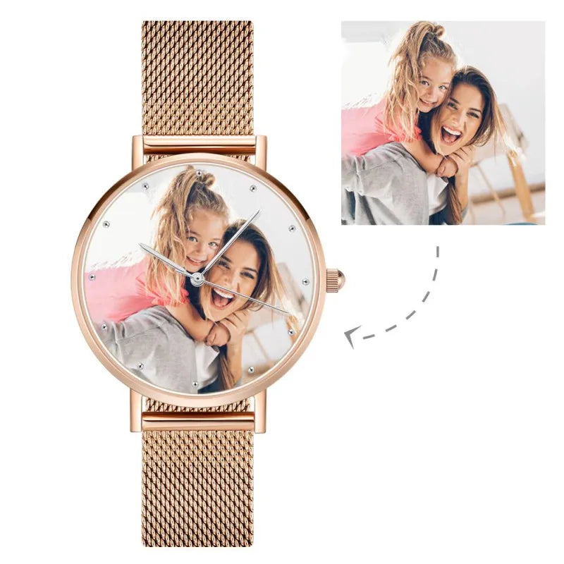 Women's Engraved Rose Gold Alloy Bracelet Photo Watch 36mm