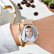 Load image into Gallery viewer, Women's Engraved Rose Gold Alloy Bracelet Photo Watch 36mm