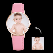 Load image into Gallery viewer, Women's Engraved Rose Goldtone Photo Watch Pink Leather Strap 36mm