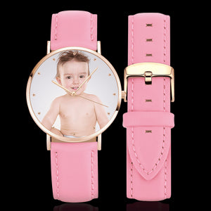 Women's Engraved Rose Goldtone Photo Watch Pink Leather Strap 36mm