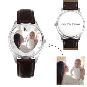 Women's Engraved Photo Watch 40mm Brown Leather Strap