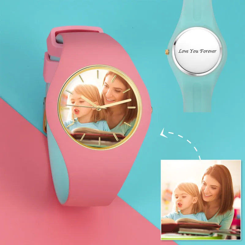 Waterproof Silicone Unisex Engraved Photo Watch 41mm Pink And Blue Bands