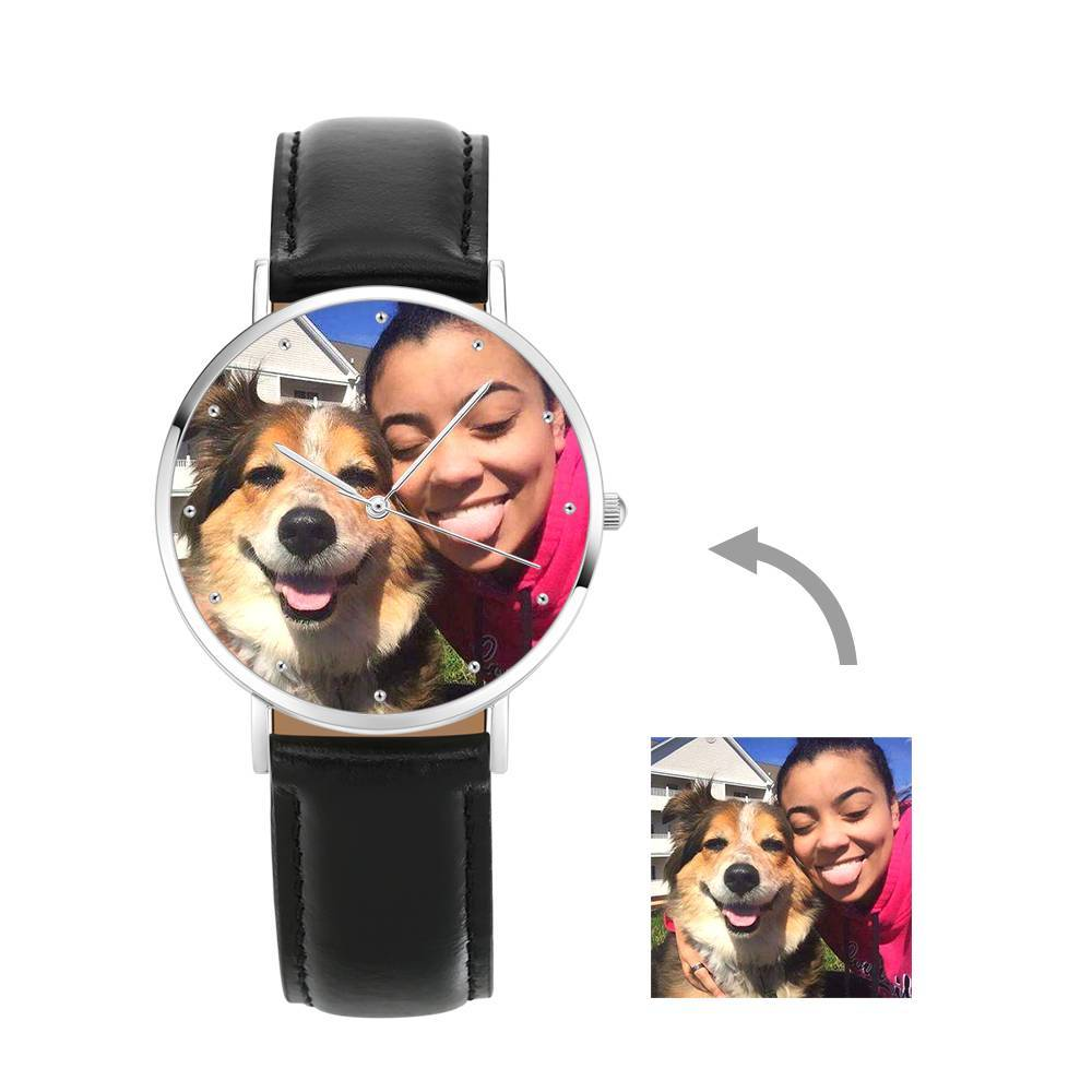 Women's Engraved Photo Watch Black Leather Strap 36mm