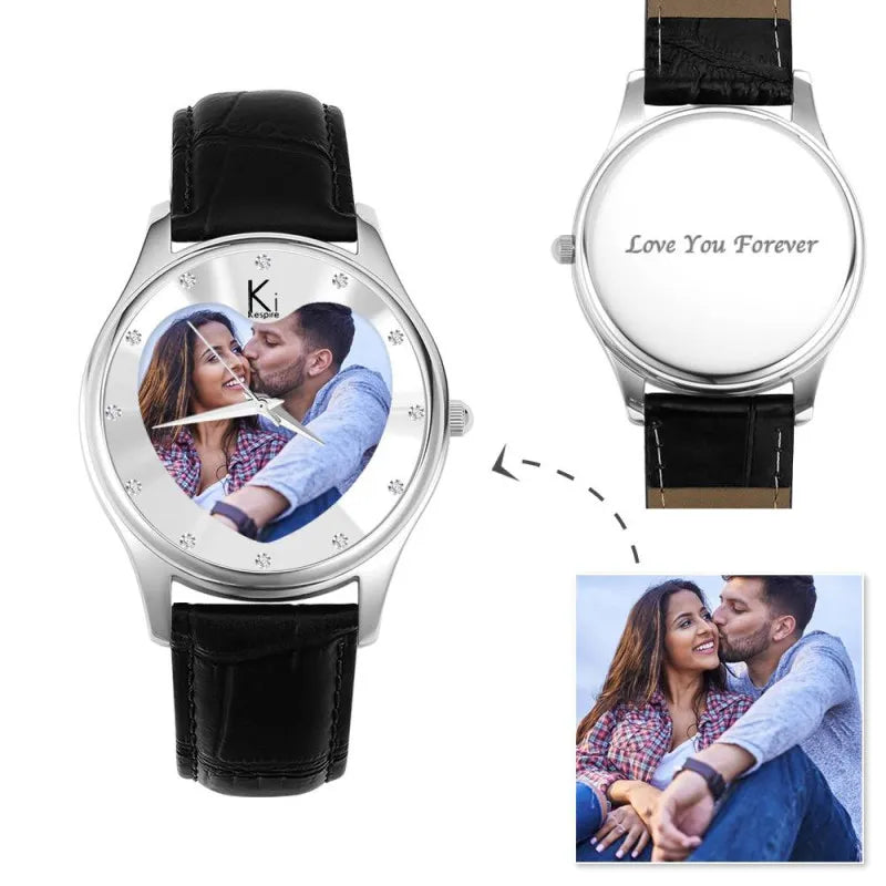 Women's Engraved Black Photo Watch 40mm Black Leather Strap