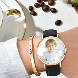 Women's Engraved Rose Goldtone Photo Watch Black Leather Strap 36mm