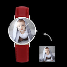 Load image into Gallery viewer, Women's Engraved Photo Watch Red Leather Strap 36mm