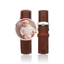 Load image into Gallery viewer, Women's Engraved Photo Watch Brown Leather Strap 36mm