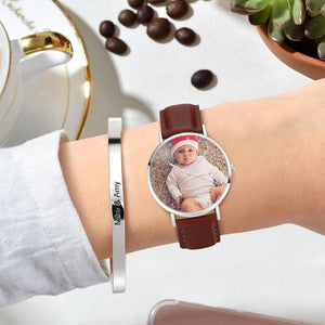 Women's Engraved Photo Watch Brown Leather Strap 36mm