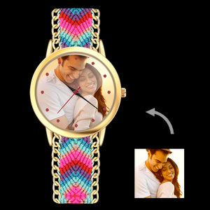 Women's Gold Photo Watch Braided Color Rope Strap 40mm