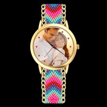 Load image into Gallery viewer, Women's Gold Photo Watch Braided Color Rope Strap 40mm