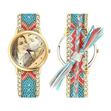 Load image into Gallery viewer, Women's Gold Photo Engraved Watch Braided Color Rope Strap 40mm