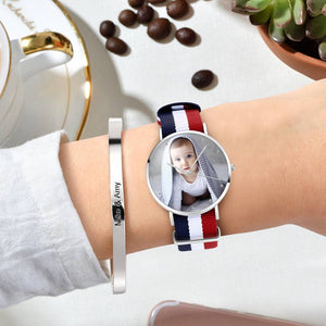 Engraved Photo Watch Color Nylon Strap