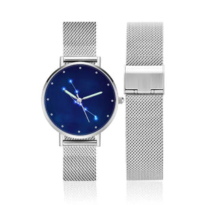 Ladies Watch 36mm-Taurus Constellation Watch With Luminous Pointer Alloy Bracelet
