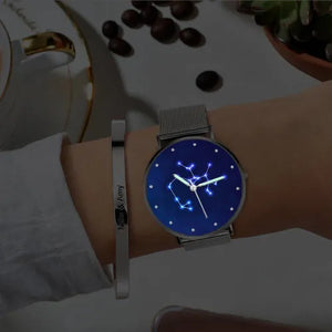 Women's Watch 36mm-Sagittarius Constellation Watch With Luminous Pointer Alloy Bracelet