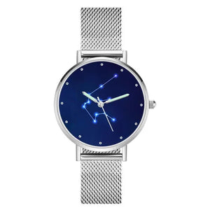 Women's Watch 36mm-Aquarius Constellation Watch With Luminous Pointer Alloy Bracelet