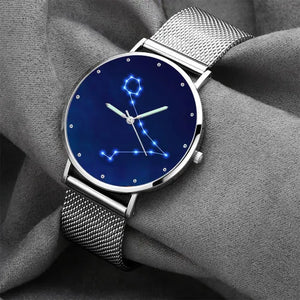 Women's Watch 36mm-Pisces Constellation Watch With Luminous Pointer Alloy Bracelet