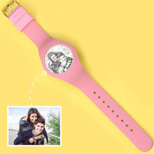 Load image into Gallery viewer, Waterproof Silicone Unisex Engraved Photo Watch 41mm Pink And Blue Bands-Sketch