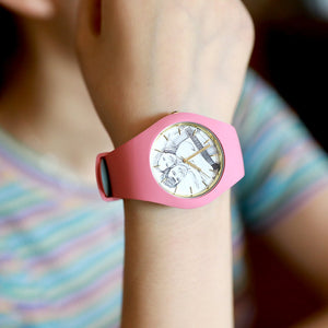 Waterproof Silicone Unisex Engraved Photo Watch 41mm Pink And Blue Bands-Sketch