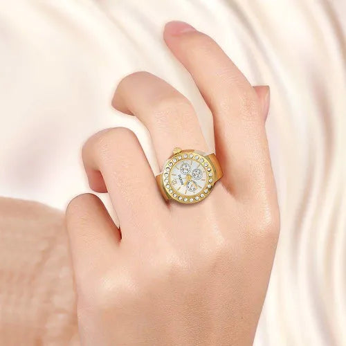 Crystal Golden Unisex Ring Watch, Finger Ring Alloy Quartz Watch With Rhinestone