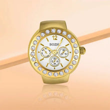 Load image into Gallery viewer, Crystal Golden Unisex Ring Watch, Finger Ring Alloy Quartz Watch With Rhinestone