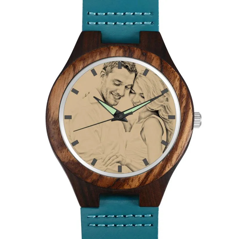 Women's Engraved Wooden Photo Watch Blue Leather Strap - Sandalwood