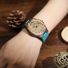 Load image into Gallery viewer, Women's Engraved Wooden Photo Watch Blue Leather Strap - Sandalwood