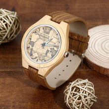 Load image into Gallery viewer, Women's Engraved Bamboo Photo Watch Wooden Leather Strap 40mm