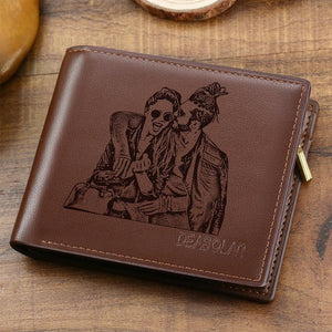 Men's Custom Photo Engraved Wallet Brown | Gift For Best Dad