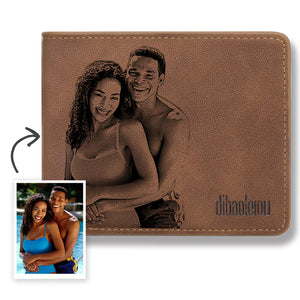 Men's Custom Photo Engraved Wallet Brown