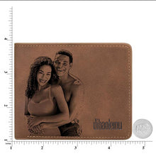 Load image into Gallery viewer, Men's Custom Photo Engraved Wallet Brown
