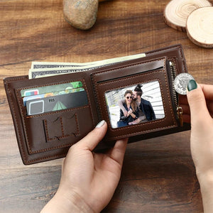 Father's Day Gift - Custom Photo Engraved Wallet BROWN