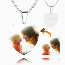 Load image into Gallery viewer, Stainless Steel Photo Heart Tag Necklace Engraved Pendant