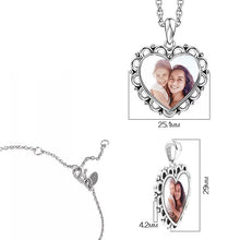 Load image into Gallery viewer, Engraved Heart Photo Necklace Silver