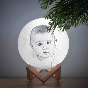 Moon Light Lamp 3D Printing Photo And Engraved Words Baby Gift-Touch Two Colors(10-20cm)