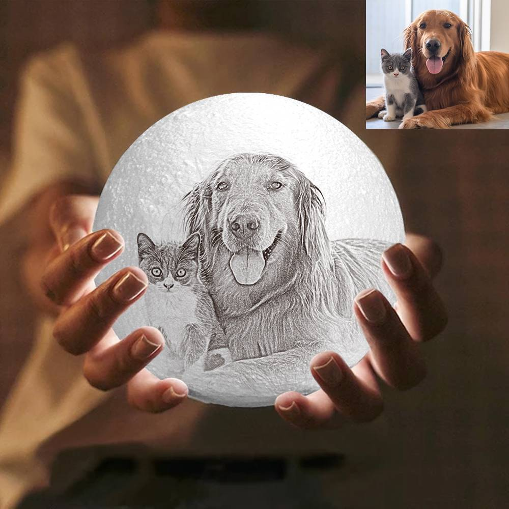 Moon Light Lamp 3D Printing Photo And Engraved Words-Cute Pet Tap 3 Colors(10-20cm)