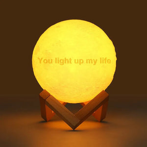 Moon Light Lamp 3D Printing Photo And Engraved Words Creative Gift-Tap 3 Colors(10-20cm)