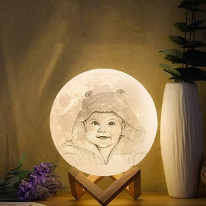 Moon Light Lamp 3D Printing Photo And Engraved Words Baby Gift- Tap 3 Colors(10-20cm)