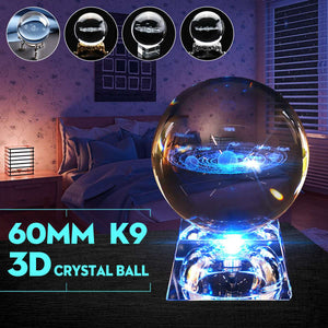3D Crystal Solar System Ball Planets Glass Ball Laser Engraved Globe Miniature Model