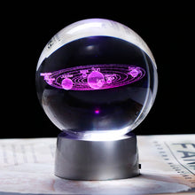 Load image into Gallery viewer, 3D Crystal Solar System Ball Planets Glass Ball Laser Engraved Globe Miniature Model