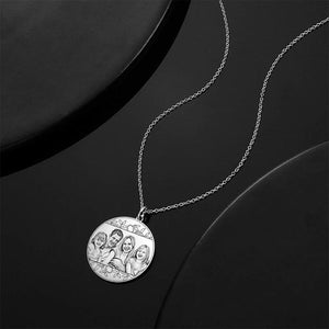 Round Photo Engraved Necklace With Engraving Silver