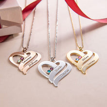 Load image into Gallery viewer, Two Hearts Forever One Necklace with Birthstones