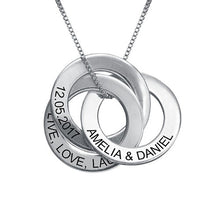 Load image into Gallery viewer, Russian Ring Necklace with Engraving in Sterling Silver