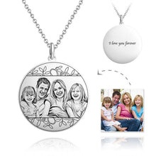 Load image into Gallery viewer, Round Photo Engraved Necklace With Engraving Silver