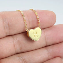 Load image into Gallery viewer, Engraved Heart Initial Necklace 14k Gold Plated