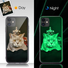 Load image into Gallery viewer, Custom Noctilucent Photo Protective Phone Case Glass Surface - IPhone11