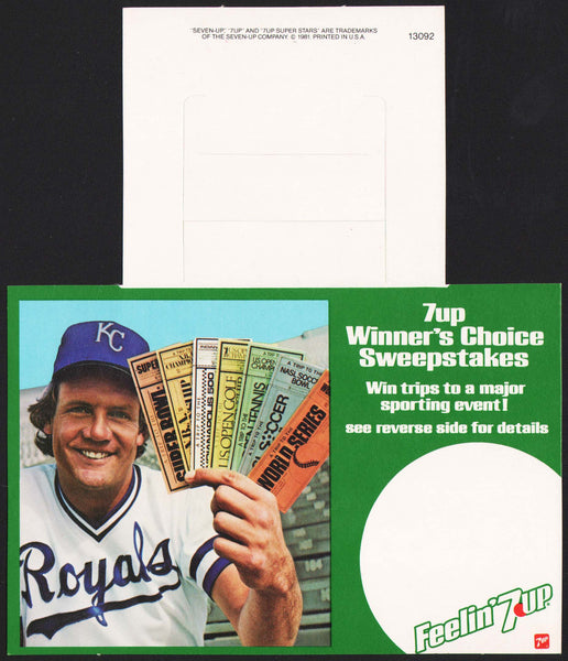 Vintage bottle ringer 7 UP dated 1981 George Brett Royals with tickets n-mint+